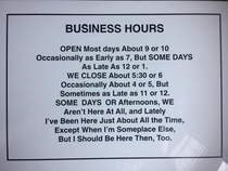 Business hours for a college dorm room