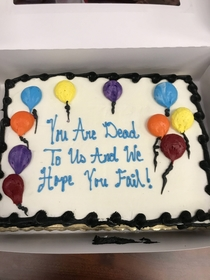 Cake I had made for my coworker who got promoted