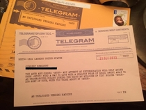Came in my friends mail today STOP Telegram from an Unplugged Vending Machine STOP