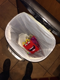 Can confirm new happy meal boxes are terrifying  needless to say I opened my trash and was scared shitless