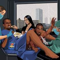 Can you paint Kanye West giving birth to Kanye West whilst Kim Kardashian feeds him Walkers cheese and onion crisps on a bed of Brie