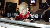 Canadian baby at his first hockey game