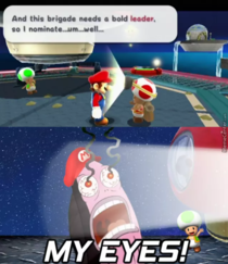 Captain Toad is inconsiderate of others ocular spheres