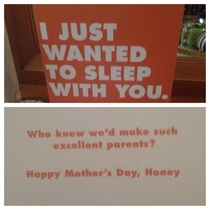 Card my dad gave to my mom yesterday