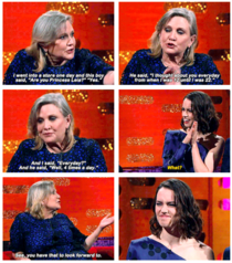 Carrie Fisher letting Daisy Ridley know what she has to look forward too