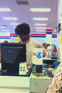 Cashier at the thrift store looks like Moss from The IT Crowd