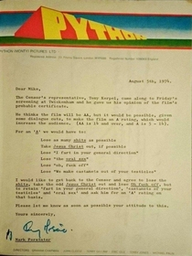 Censorship Negotiations for Monty Python The Holy Grail