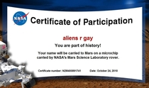 Certificate of Participation from NASA