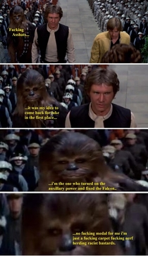 Chewbacca is unimpressed