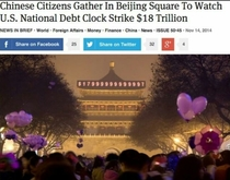 Chinese Citizens Gather In Beijing Square To Watch US National Debt Clock Strike  Trillion