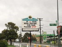 Church sign in response to the devastation caused by cyclone Debbie Queensland Australia