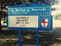 Church sign that tells us what forgiveness is