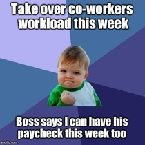 Co-worker hurt his back last week and I took over his work load Its been a hard week but the boss cheered me up today