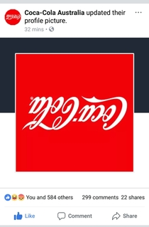 Coke Australia inverted their logo for the sweet down under karma