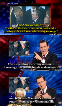 Colbert addresses the controversial handshake nails it