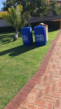 Come home from work one day and seen these two barrels outside our neighbours front lawn