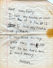 Come on Tooth Fairy hook a sister up