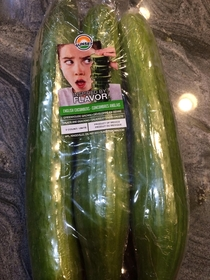 Completely inappropriate cucumber packaging