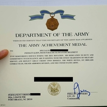 Congrats on receiving the Army Achievement Medal but the Lieutenant Colonels signature deserves a medal itself