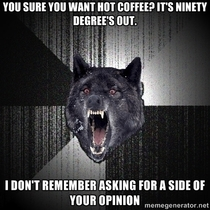 Conversation between the coffee customer in front of me and the barista