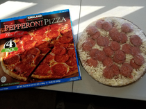 Costco Pizza- Before I opened it I thought Theres no way there is that many pepperonis