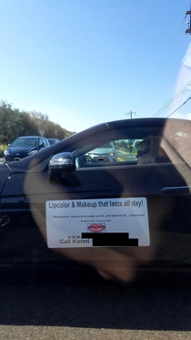 Coworker found an actual Karen in the wild driving her MLM car