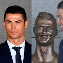 Cristiano Ronaldos new bust at an airport named after him