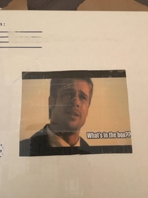Currently deployed overseas and wife stuck this to a package she sent It made my day