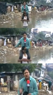 Currently happening in the floods of Uttarakhand a journalist reporting live