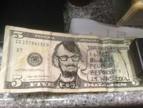 Customer handed me Hipster Abe Lincoln