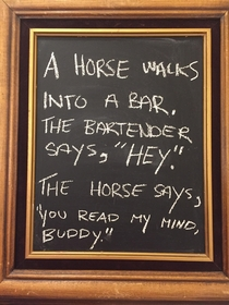 Dad joke as found in a bar