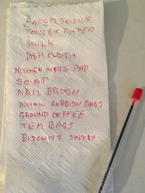 Dads shopping list on a paper towel see number