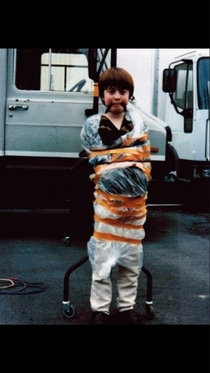 Daniel Radcliffe tied up on the set of David Copperfield after spraying various crew members with a water pistol