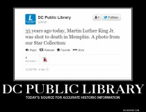 DC Public Library informs us of the MLK assassination anniversary today