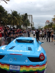 Deadmau is racing this purrari today in south beach with Tory Belleci of mythbusters