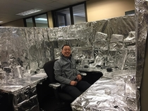 Decorated coworkers cube Total brainwave privacy