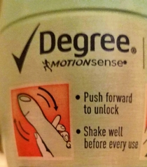 Degree deodorant instructions for spraying