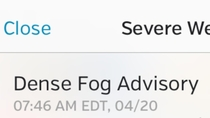 Dense fog advisory on this