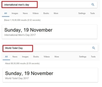 Did anyone notice that International Mens day and World Toilet Day are on the same date