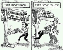 Differences between first day of high school and first day of college
