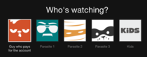 Differentiating Netflix users on an account