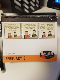 Dilbert calender on point - And what planet is this Elon guy from anyway