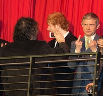 Director Peter Jackson takes a photo of Martin Freeman Bilbo at The Hobbit premiere
