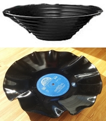 DIY bowl melted from a vinyl LP