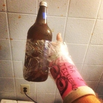 Doctor said I would have trouble holding bottles with my cast I improvised
