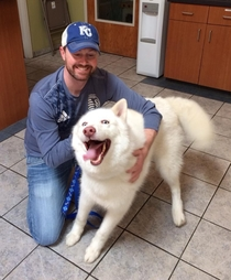 Dog got adopted from the shelter i use to volunteer at I think hes pretty happy