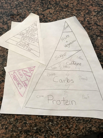 Doing some basement cleaning and found this years ago when the new food pyramid came out I asked my kids to design their own and this is what a college high school and middle schooler designed