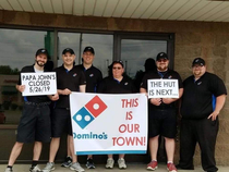 Dominos Pizza flexing on our Papa Johns in my home town