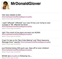 Donald Glover Childish Gambino Realizes Jessica Alba is Following Him on Twitter