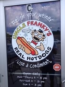 Door of my favorite hotdog place Makes me laugh every time I walk in